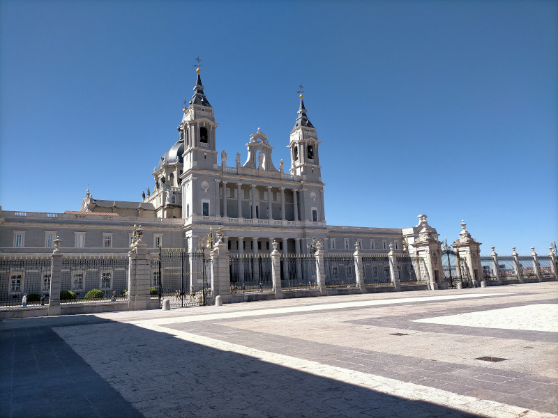 façade Almudena cathedral in Madrid