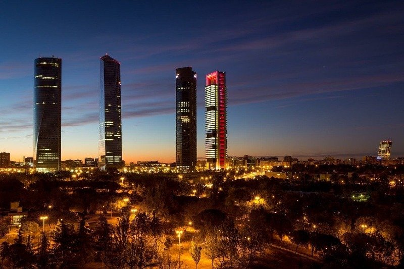 Madrid 4 towers at night
