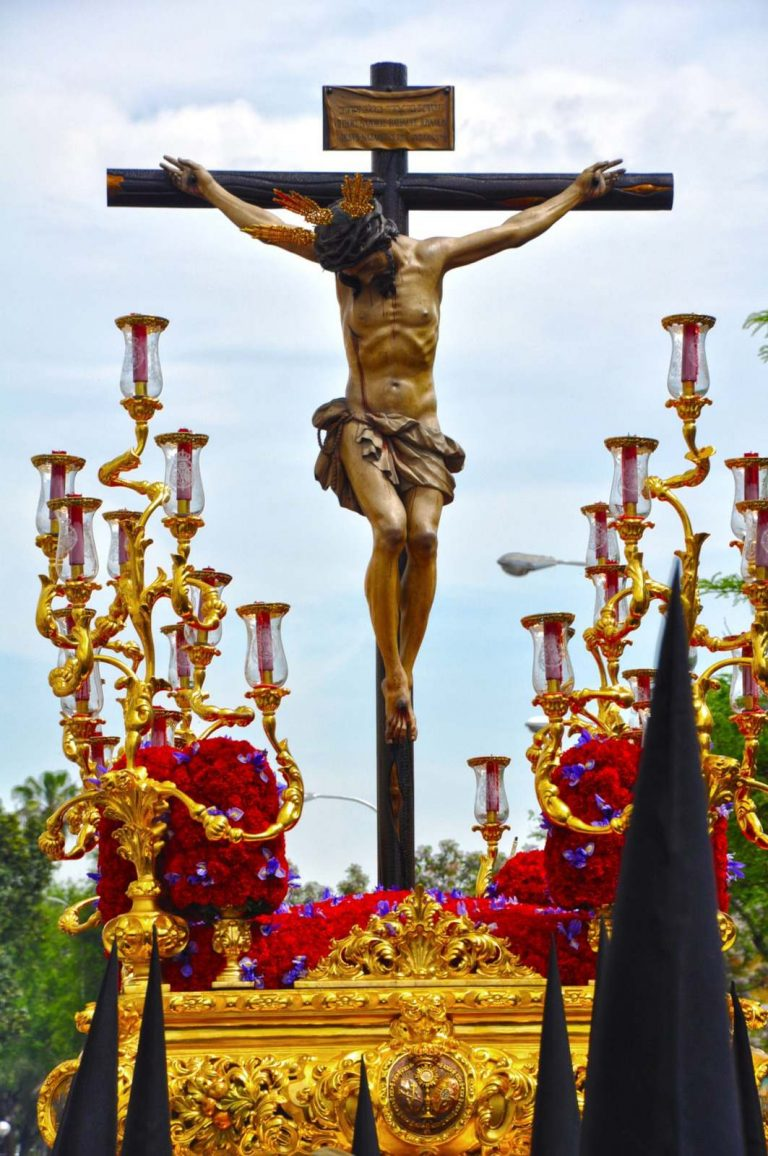 Christ image during a procession in Seville