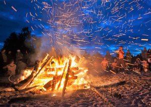 Bornfire during the San Juan Festival in alicate, Spain