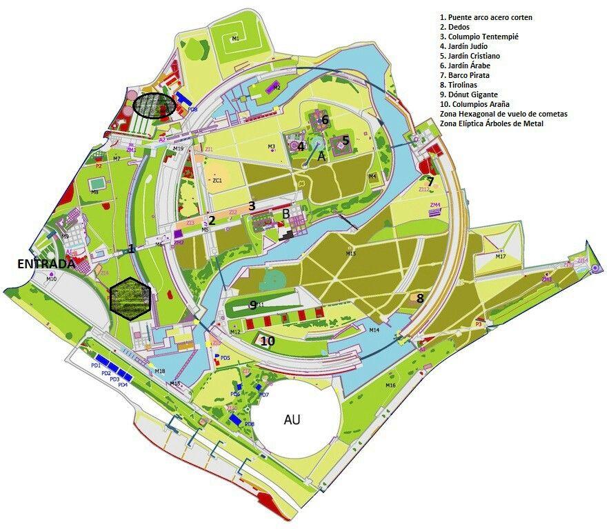 Plan of the Juan Carlos I park in Madrid