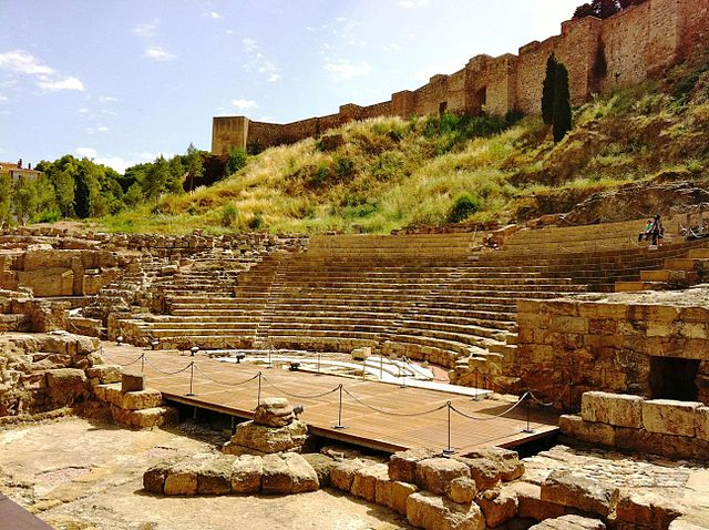 Roman theater of malaga during the day