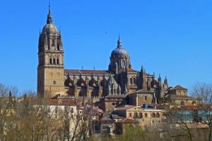 Views of the Cathedral of Salamanca from the Tormess river