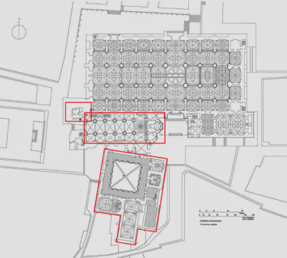 plan of the new and old cathedrals in Salamanca