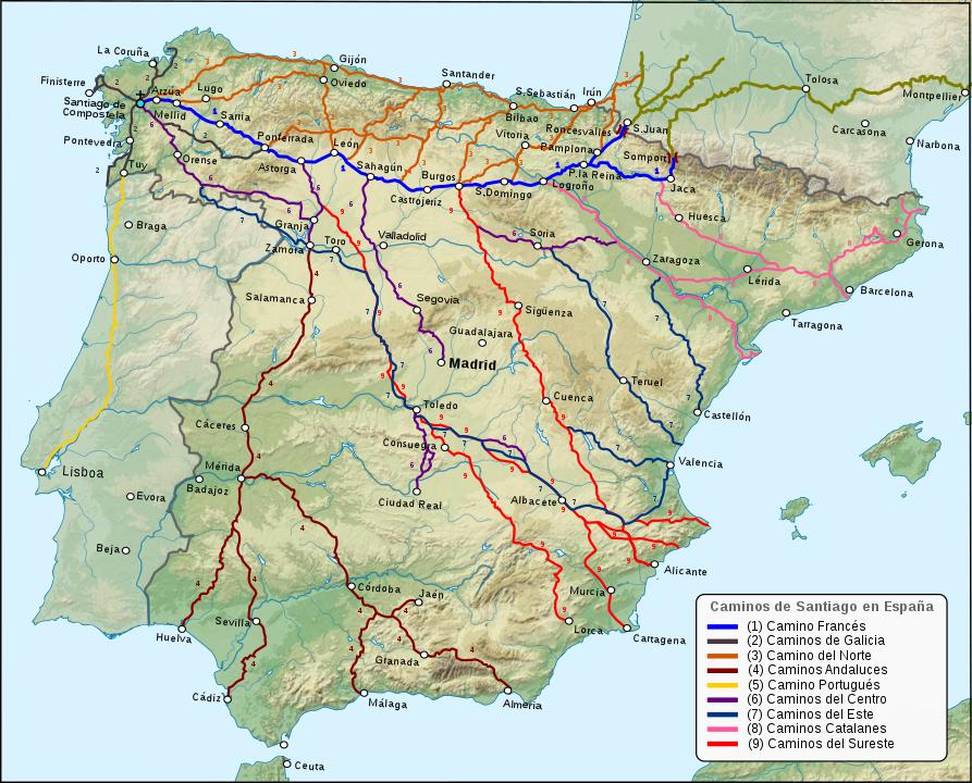 The different caminos de santiago