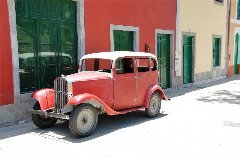 Car in a traditional village in Gran canaria