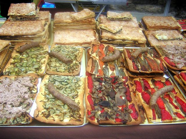 A tray with cocas in a market in Mallorca