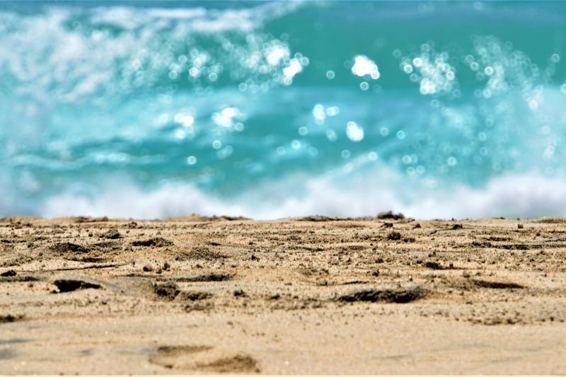 Golden sand and green water in Fuerteventura