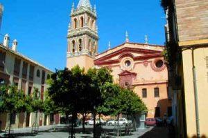 Main façade Santa Ana church in Seville
