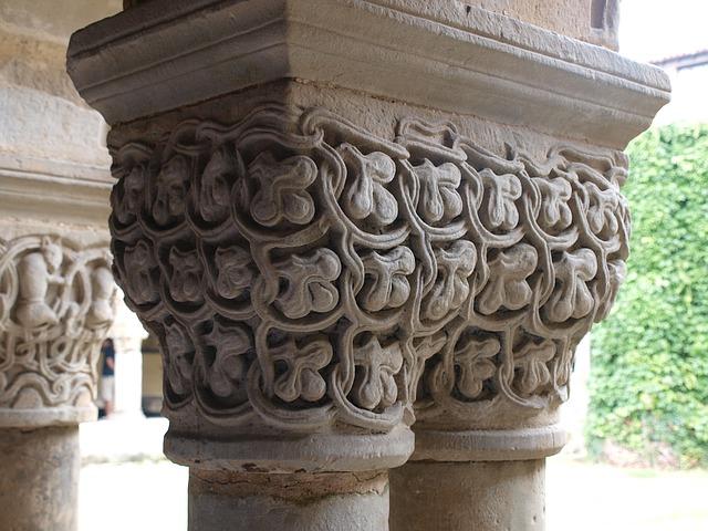 Detail of a column in the colligete church of Santillana del Mar