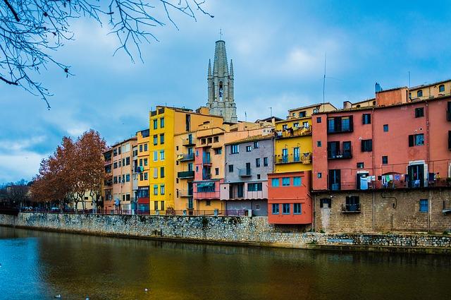river side buildings gerona